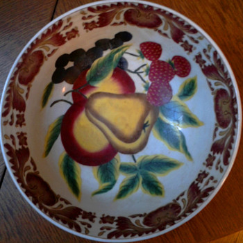 Porcelain Punch Bowl - Fruit decorated - Need Help ID'ing