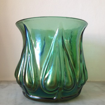 Iridescent green mould-blown petal bud vase