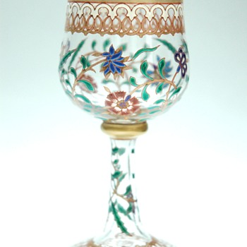 magnificent glass enamel art nouveau era , Persian decor . circa 1880 - Art Glass