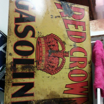 Wondering price on red crown sign/and year? Metal..... - Advertising