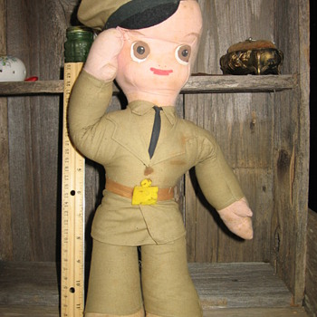 Military Cloth Doll - WWII Air Force Pilot Doll (?) - Dolls