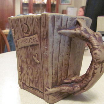 Rumph  art pottery  mug  &quot;The Outhouse&quot; 