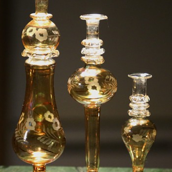 Little Glass Vases - etched - Art Glass