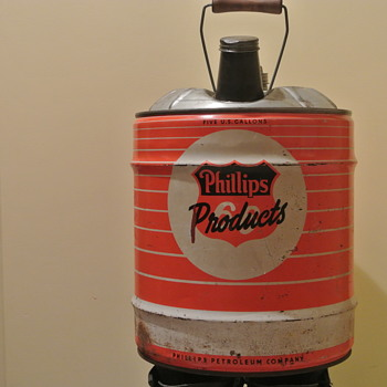 Vintage Five Gallon Phillips 66 Oil Can w/Wooden Handle - Petroliana