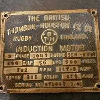 British Thomson Houston co. ltd name plate.