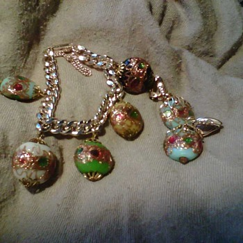 Unusual charm bracelet matching earrings perhaps Cuban? - Costume Jewelry