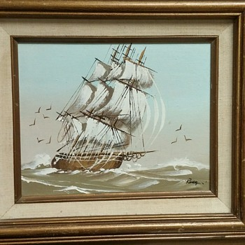 Wooden Ship painting with some information. - Visual Art