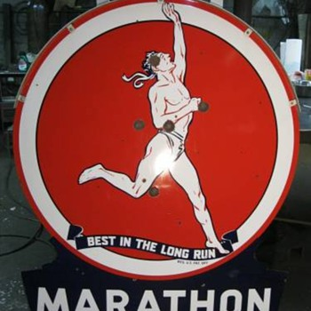 "1954 58"" Die cut Marathon sign - Petroliana"