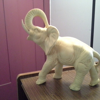 antique or vintage white stone elephant