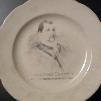 Old Plate:   Christopher Columbus from the oil painting by Sir Antonio Moro  - China and Dinnerware