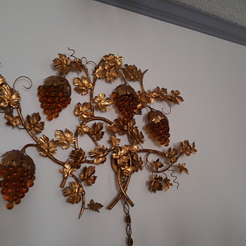 Beautiful gold lamp with glass yellow brown grapes big wall piece