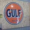 My first major purchase a few years ago...1951 Gulf sign. Unmolested and in fairly good shape for a 60 year old...