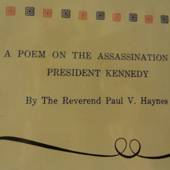 1964 Poem Of The Assassination Of President Kennedy - Paper