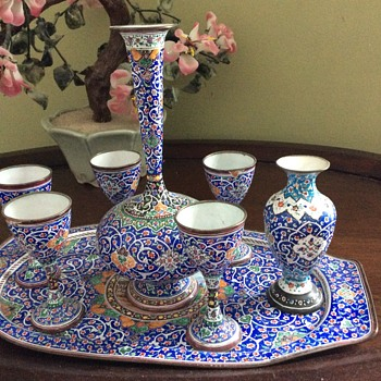 Persian wine set and vase