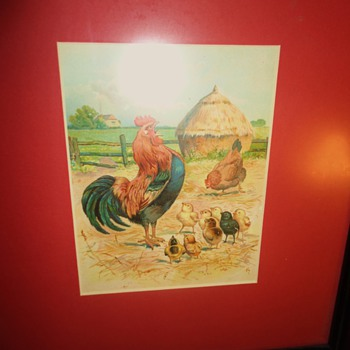 Rooster showing off to chicks, while hen could care less!!!  $2.50 cute print or watercolor from thrift store