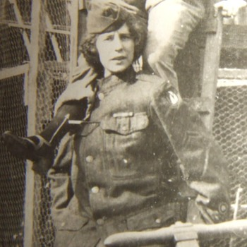 Woman in 3rd Army tunic at pigeon cages! - Photographs