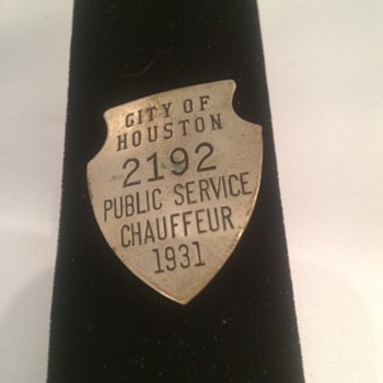 1931 City of Houston Public Service Chauffeur - Medals Pins and Badges