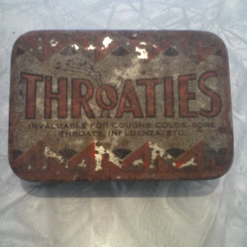 vintage throaties tin with parchment - Advertising