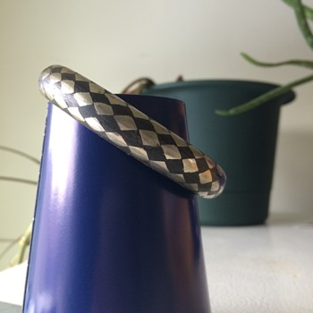 Inlaid silver and black bangle bracelet - Costume Jewelry