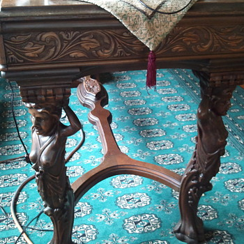 Fabulously Carved Walnut Figural  Inlaided Library Table