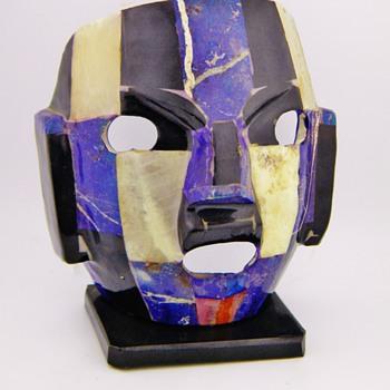Aztec Burial Mask Lapis Quartz Onyx  - Art Pottery