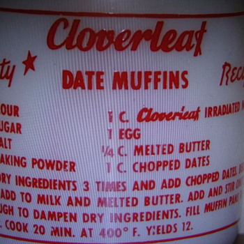 Cloverleaf Dairy Milk Bottle with Recipe on back...