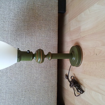 Table lamp, metal base with milk glass shade-possibly french