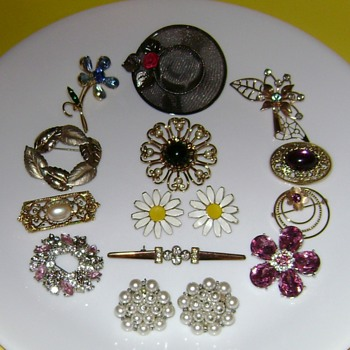 Pins and Earrings - Costume Jewelry