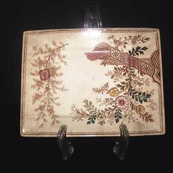 "Square Brown Transferware Plate"" Christopher Dresser"" Hampden,Late XIX Century"