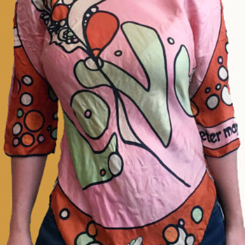 1960s Hippie Folk Art Shirt made from 2 Peter Max Scarves