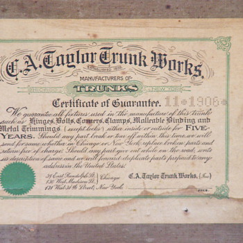 C.A. Taylor Trunk Works XX Professional November of 1906, Jesse L. Lasky - Furniture