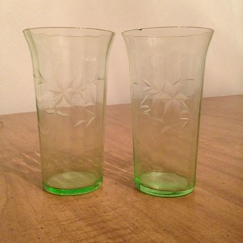 Green Depression Glass Tumblers - Glassware