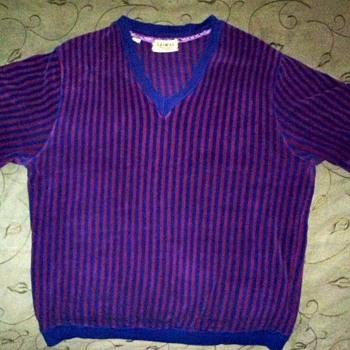 {Vintage} Lazarus mens v-neck pull-over velveteen sport shirt