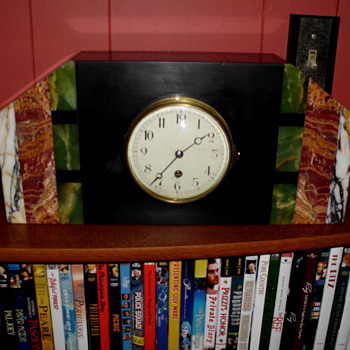 Green Black Red and White Marble Art Deco Clock 1930s - Art Deco