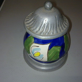 PEWTER AND POTTERY JAR - Art Pottery