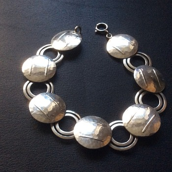 Antique silver bracelet - Art Deco