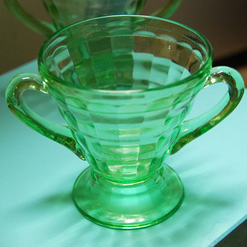 "Hocking ""Block Optic"" Green Depression Glass_Sugar (?) c.1929-33 - Glassware"