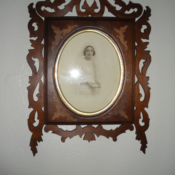 hand carved picture  frame and original signed photo 