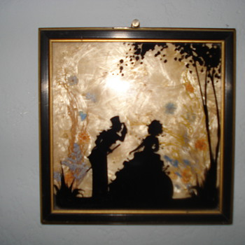 TWO BEAUTIFUL FRAMES  WITH BLACK FIGURE - Art Glass