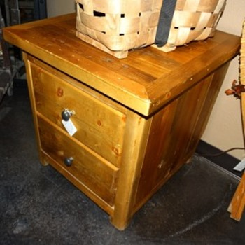 2 Drawer Pine End Table Nightstand - Furniture