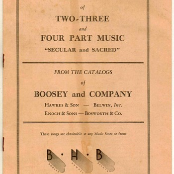 1932 - Bosworth & Co. Music Catalogs - Music
