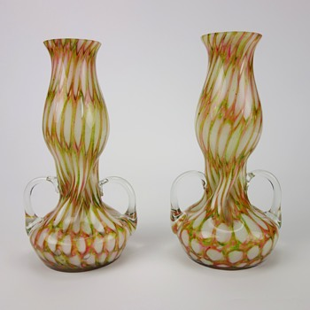 PAIR OF FRANZ WELZ HARLEQUIN HONEYCOMB VASES