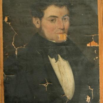 basement find: antique oil portrait!! - Visual Art