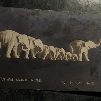 Odd Postcard - Elephants and in Russian? - Postcards