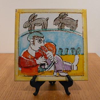 """DE SIMONE TILE """"ZAMPOGNARO e CIUCCI ( o LEPRI?) - Art Pottery"""