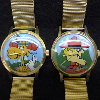 1971 Jay Ward Hand-Painted Dial Character Wristwatches - Wristwatches