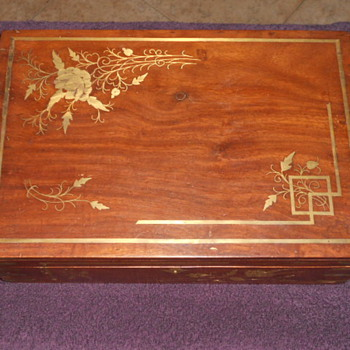 Wooden Jewelry Box With Brass Inlays