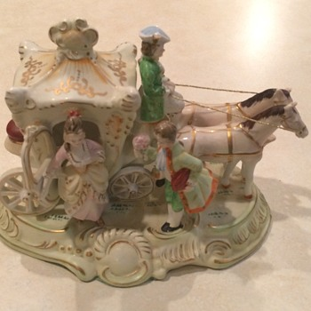 Vintage Japan Coach and Horses Figurine
