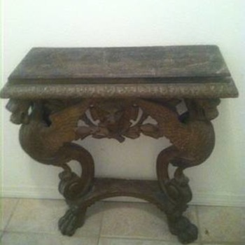 1800's griffin wall table with a lion in the middle with a branch under him - Furniture