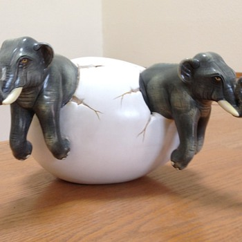 Twin Elephants - Art Pottery